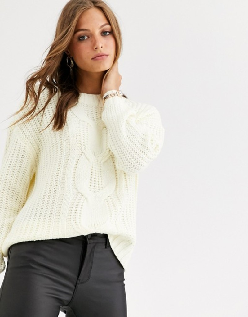 ヴェロモーダ レディース ニット・セーター アウター Vero Moda cable knit sweater Cream