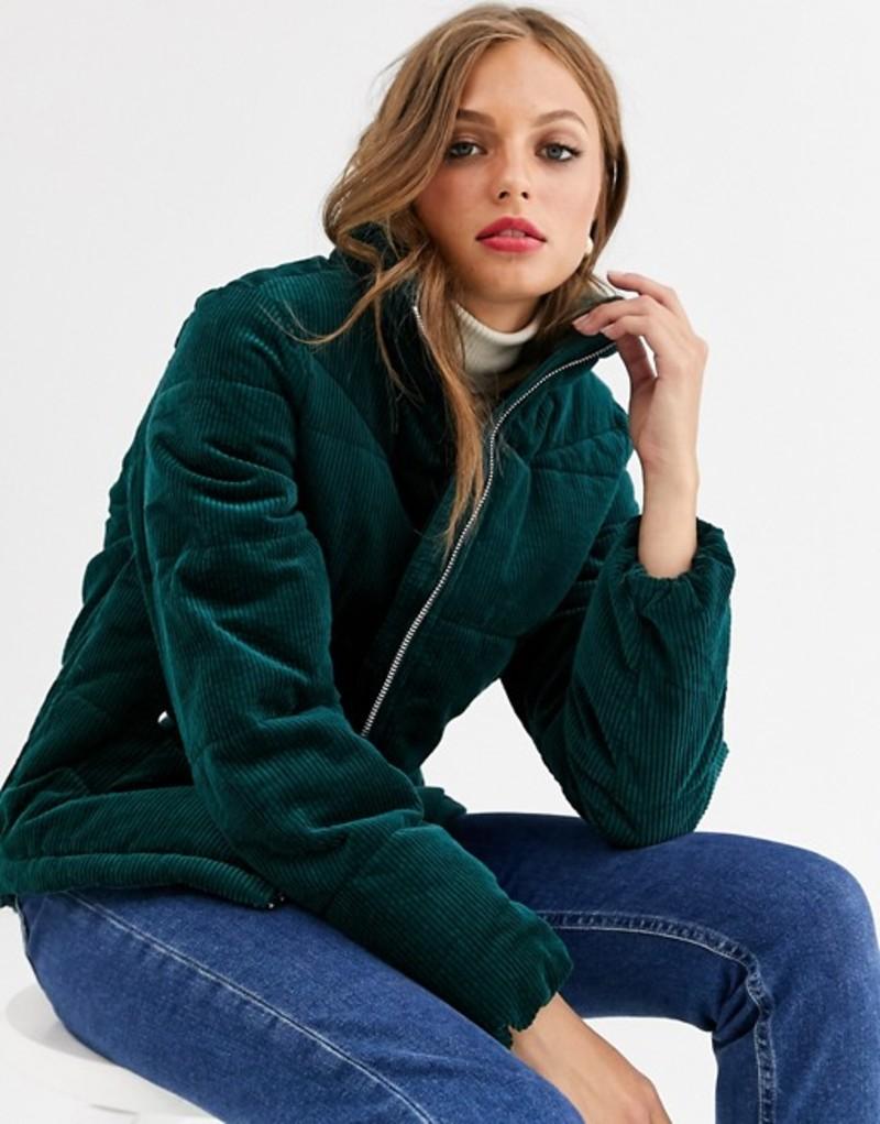 ヴェロモーダ レディース ジャケット・ブルゾン アウター Vero Moda cord velvet padded jacket Green