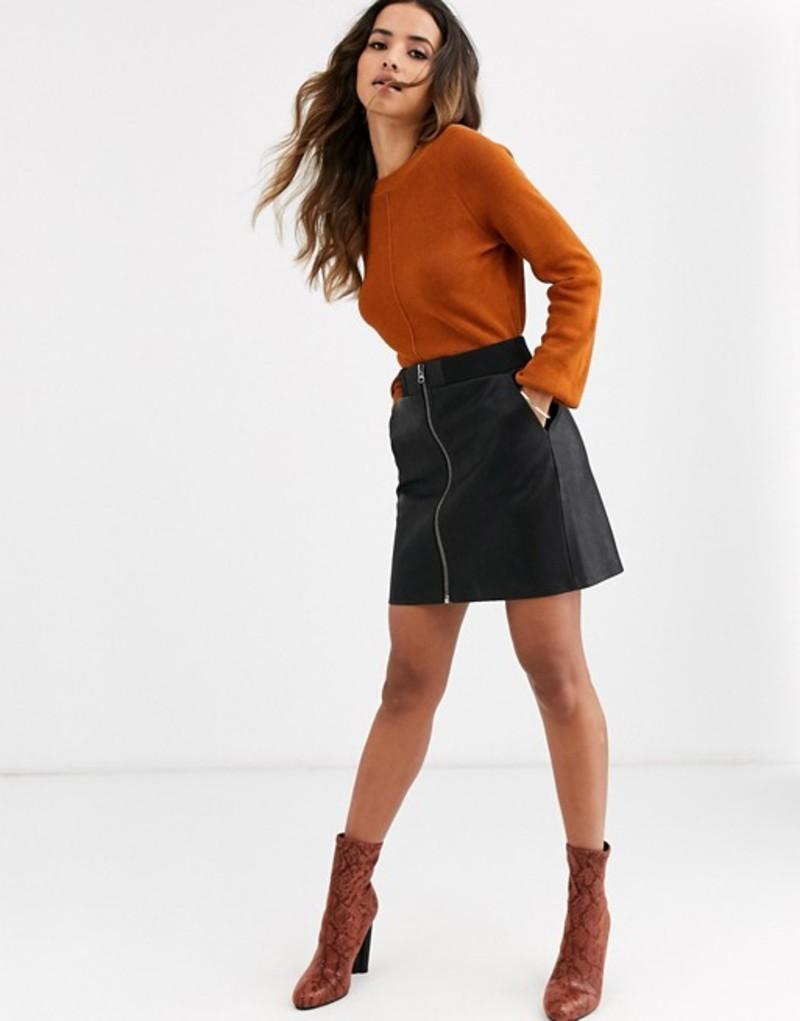 ヴェロモーダ レディース スカート ボトムス Vero Moda faux leather skirt with zip detail Black