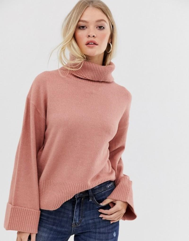 ヴィラ レディース ニット・セーター アウター Vila roll neck Sweater with wide cuff Pink