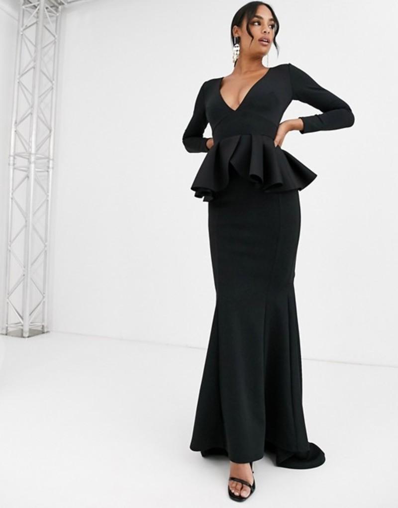 トゥルーバイオレット レディース ワンピース トップス True Violet Black Label long sleeve plunge maxi dress with peplum in black Black