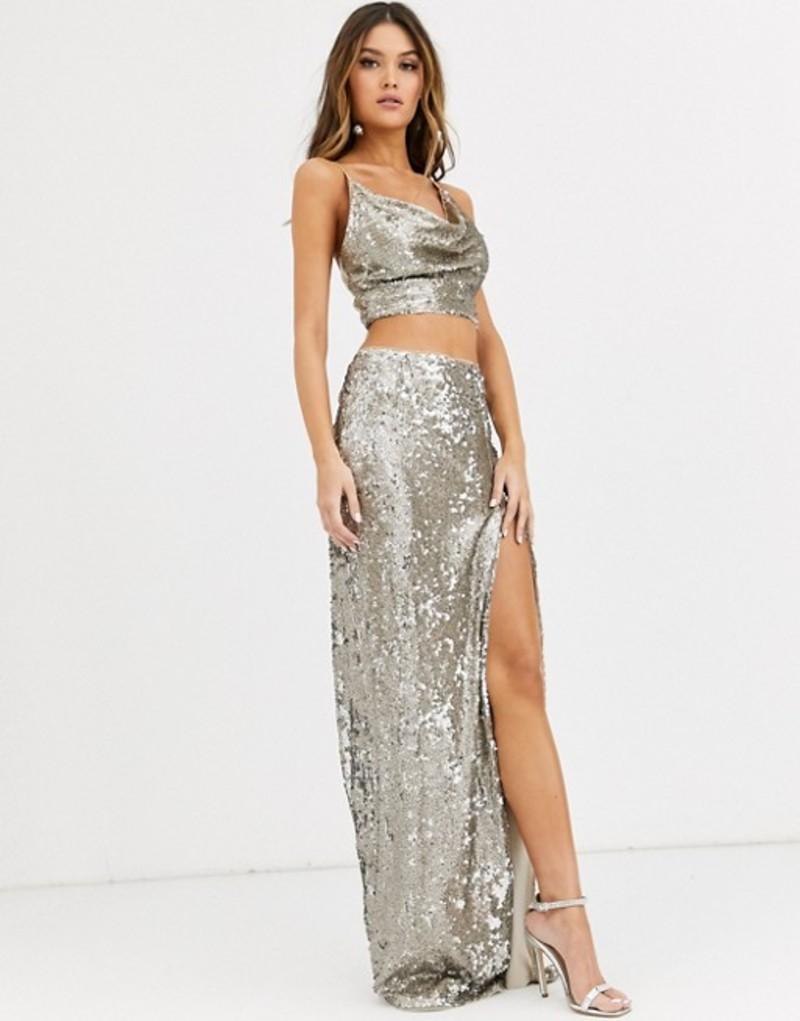 ティエフエヌシー レディース スカート ボトムス TFNC sequin maxi skirt with slit in silver and gold Silver/gold