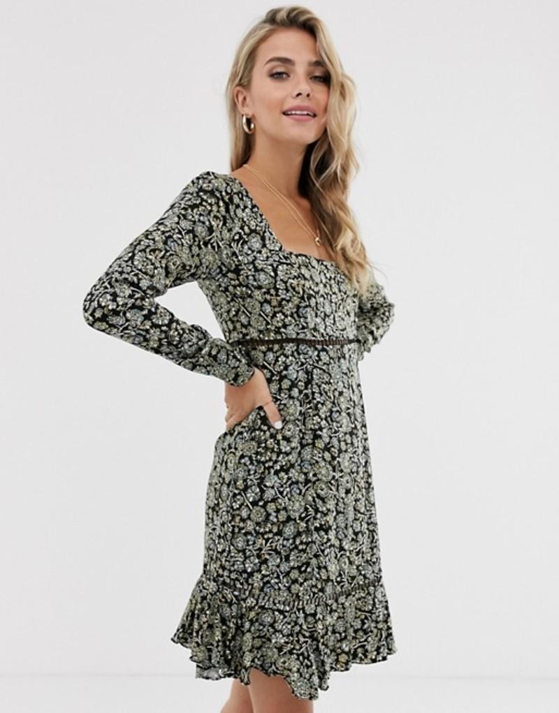 フリーピープル レディース ワンピース トップス Free People boheme floral mini dress Black