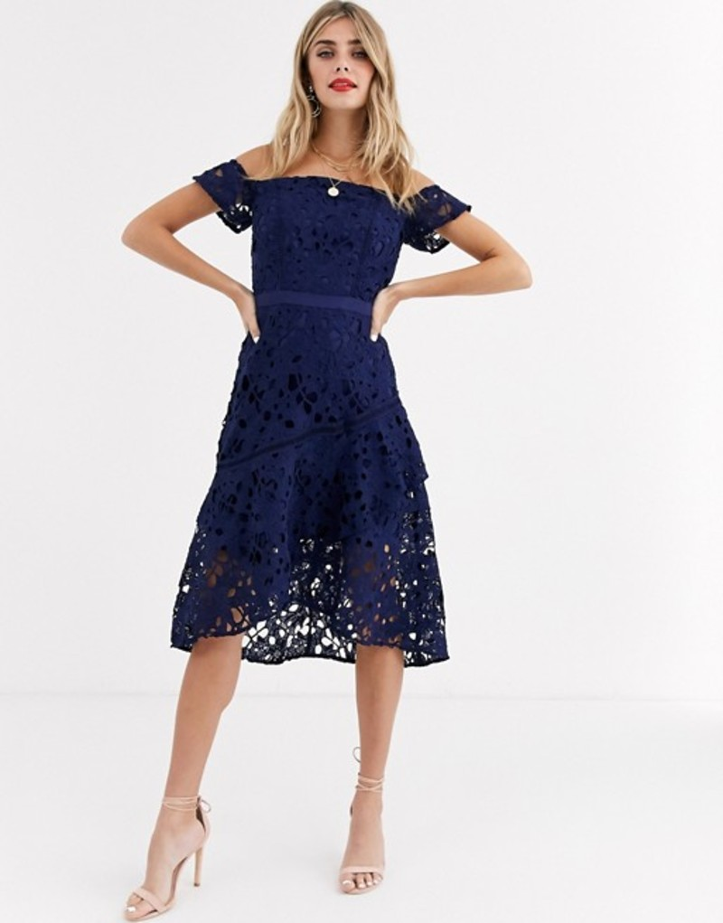 チチロンドン レディース ワンピース トップス Chi Chi London bardot lace mini dress with flippy hem in navy Navy