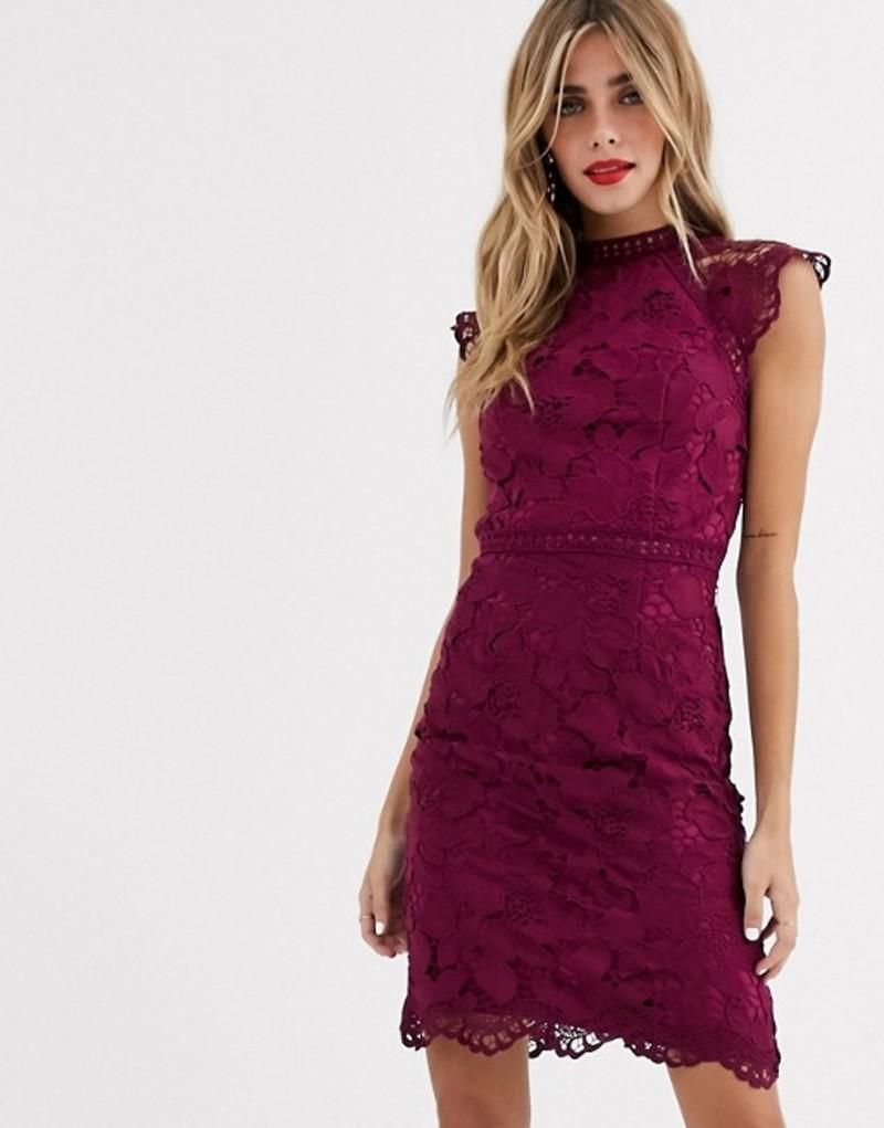チチロンドン レディース ワンピース トップス Chi Chi London lace pencil dress in mulberry Berry