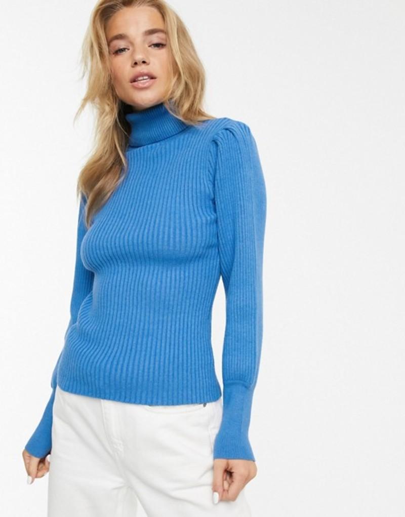 ムーンリバー レディース ニット・セーター アウター Moon River volume sleeve roll neck sweater Blue