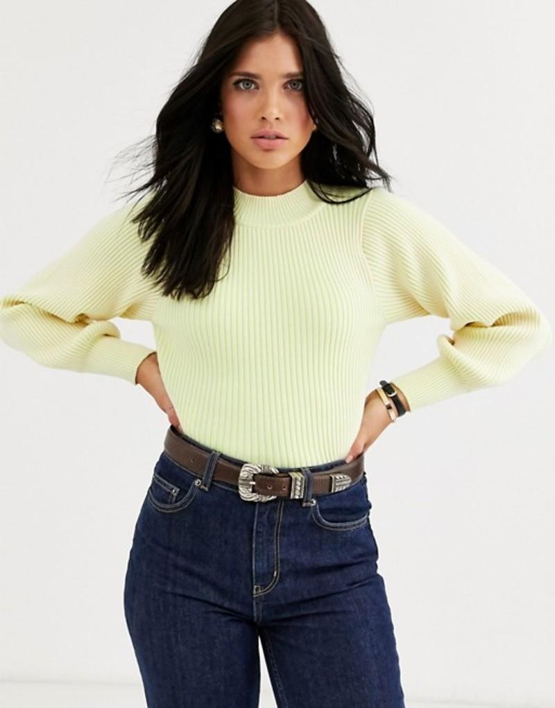 マンゴ レディース ニット・セーター アウター Mango ribbed volume sleeve sweater in yellow Yellow