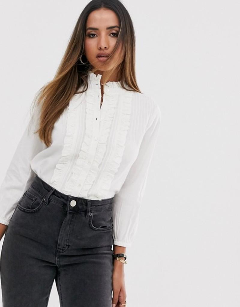 マンゴ レディース シャツ トップス Mango frill front blouse in white White