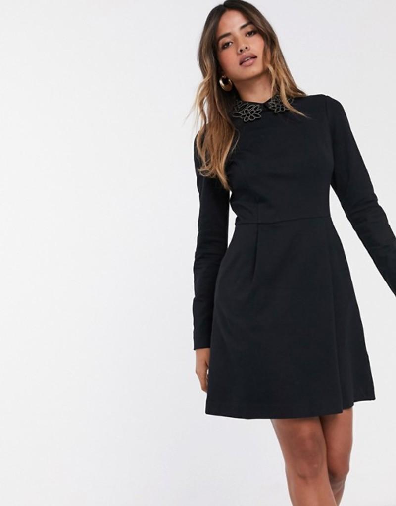 テッドベーカー レディース ワンピース トップス Ted Baker Calliea mock embellished collar mini skater dress Black