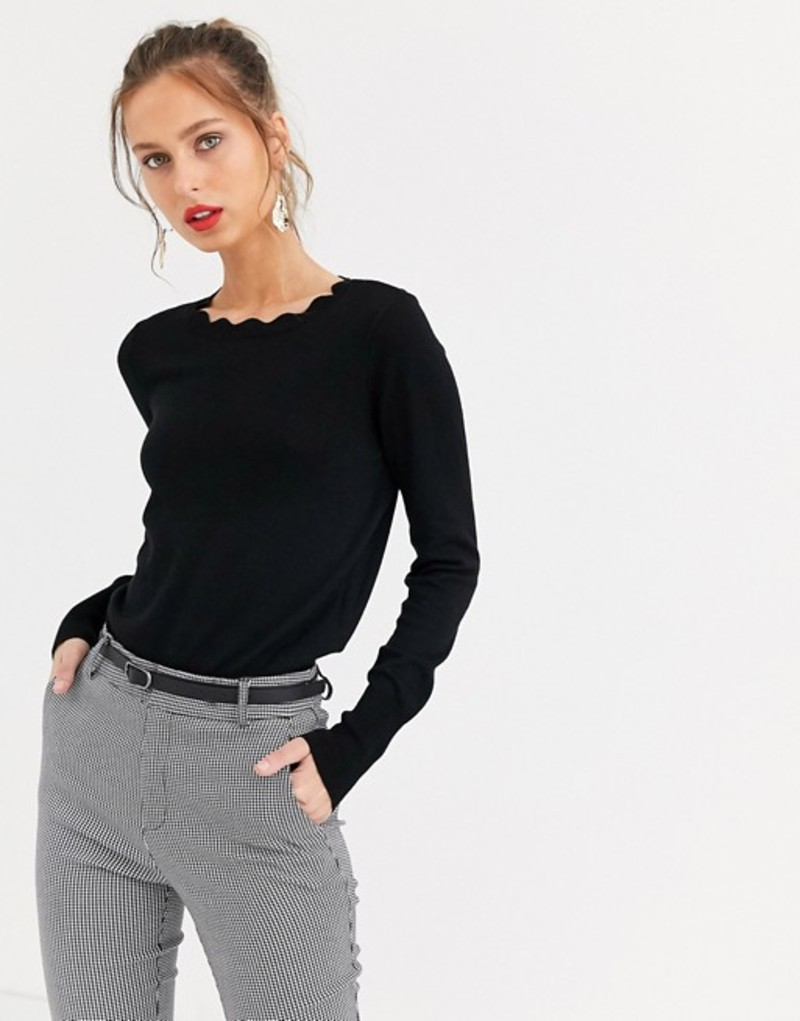オアシス レディース ニット・セーター アウター Oasis scalloped collar sweater in black Black and white