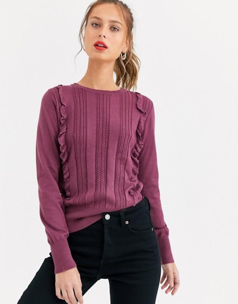 オアシス レディース ニット・セーター アウター Oasis frill cable knit sweater in purple Berry