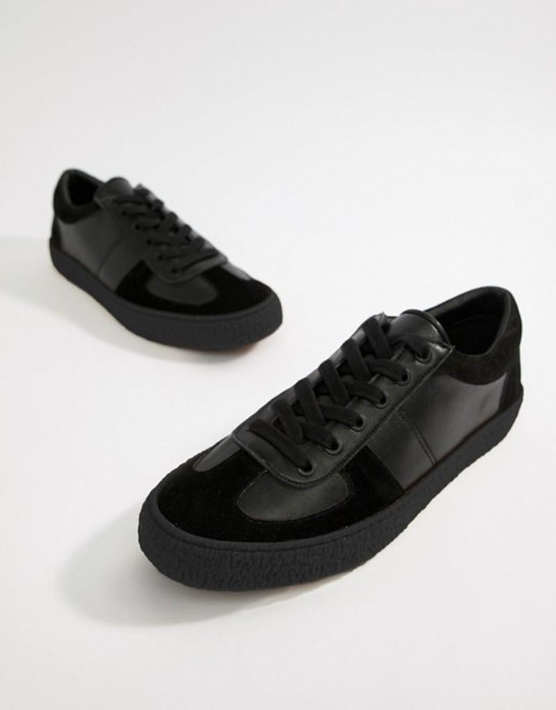 エイソス メンズ スニーカー シューズ ASOS DESIGN retro sneakers in black Black