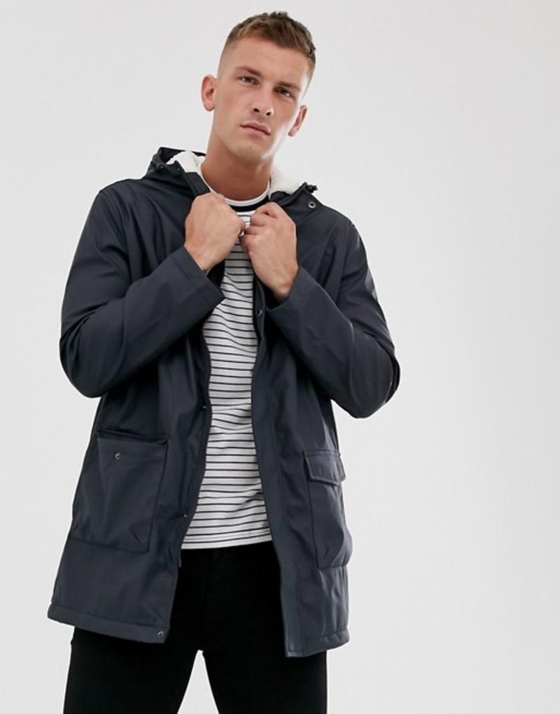 フレンチコネクション メンズ ジャケット・ブルゾン アウター French Connection coated hooded fleece lined parka Navy