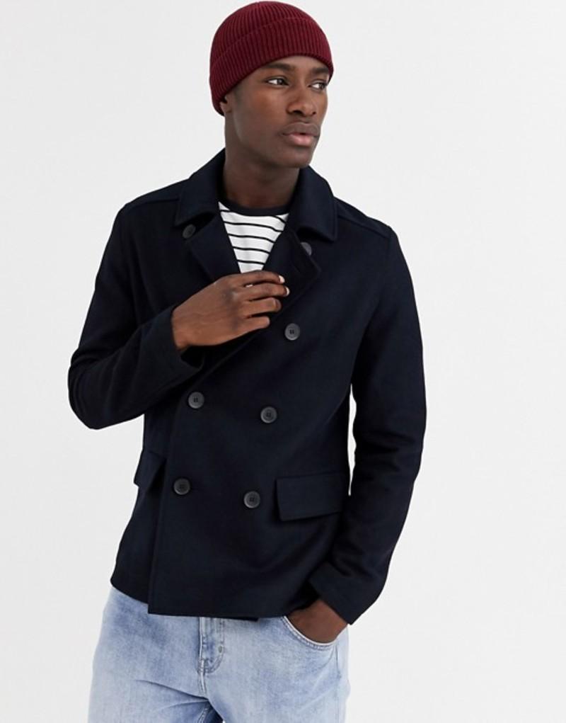フレンチコネクション メンズ コート アウター French Connection wool blend pea coat Navy