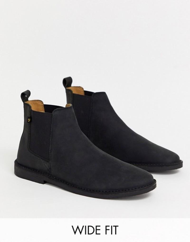 ファーラー メンズ ブーツ・レインブーツ シューズ Farah wide fit leather chelsea boot in black Black