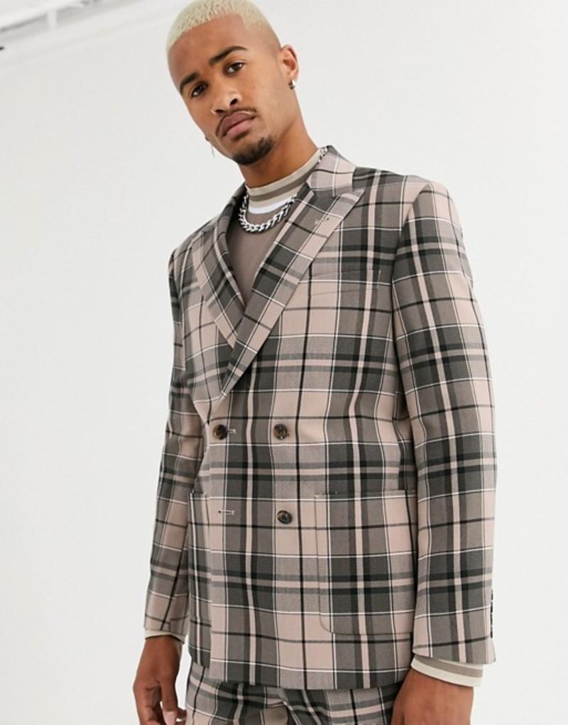 エイソス メンズ ジャケット・ブルゾン アウター ASOS DESIGN boxy double breasted suit jacket in camel check Camel