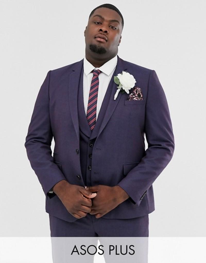 エイソス メンズ ジャケット・ブルゾン アウター ASOS DESIGN Plus wedding skinny suit jacket in berry twill Purple