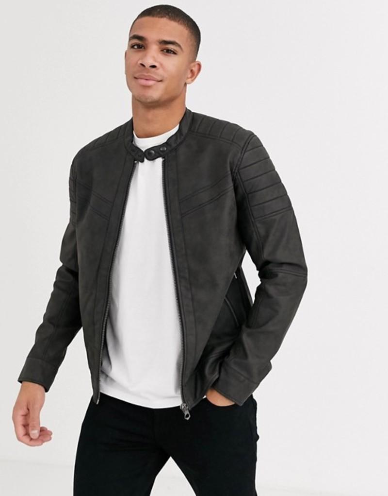 ジャック アンド ジョーンズ メンズ ジャケット・ブルゾン アウター Jack & Jones Premium biker jacket in faux leather Black