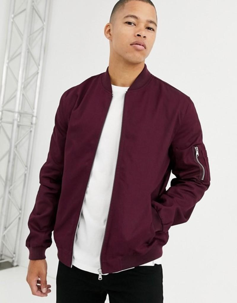 エイソス メンズ ジャケット・ブルゾン アウター ASOS DESIGN ma1 bomber jacket in burgundy Burgundy