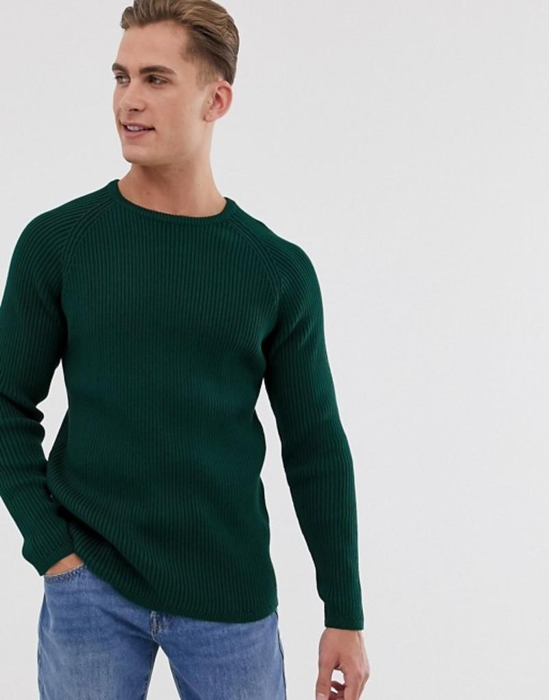 セレクテッドオム メンズ ニット・セーター アウター Selected Homme knitted sweater in chunky rib Forest biome
