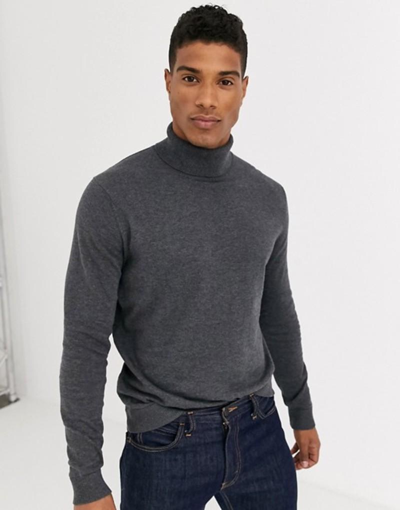 セレクテッドオム メンズ ニット・セーター アウター Selected Homme cotton knitted roll neck in gray Medium grey melange