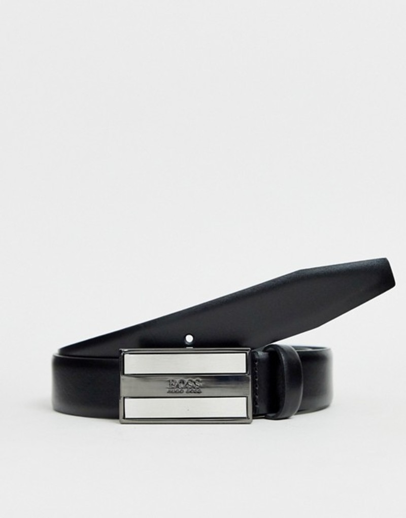 ボス メンズ ベルト アクセサリー BOSS Bexter plaque leather belt in black Black
