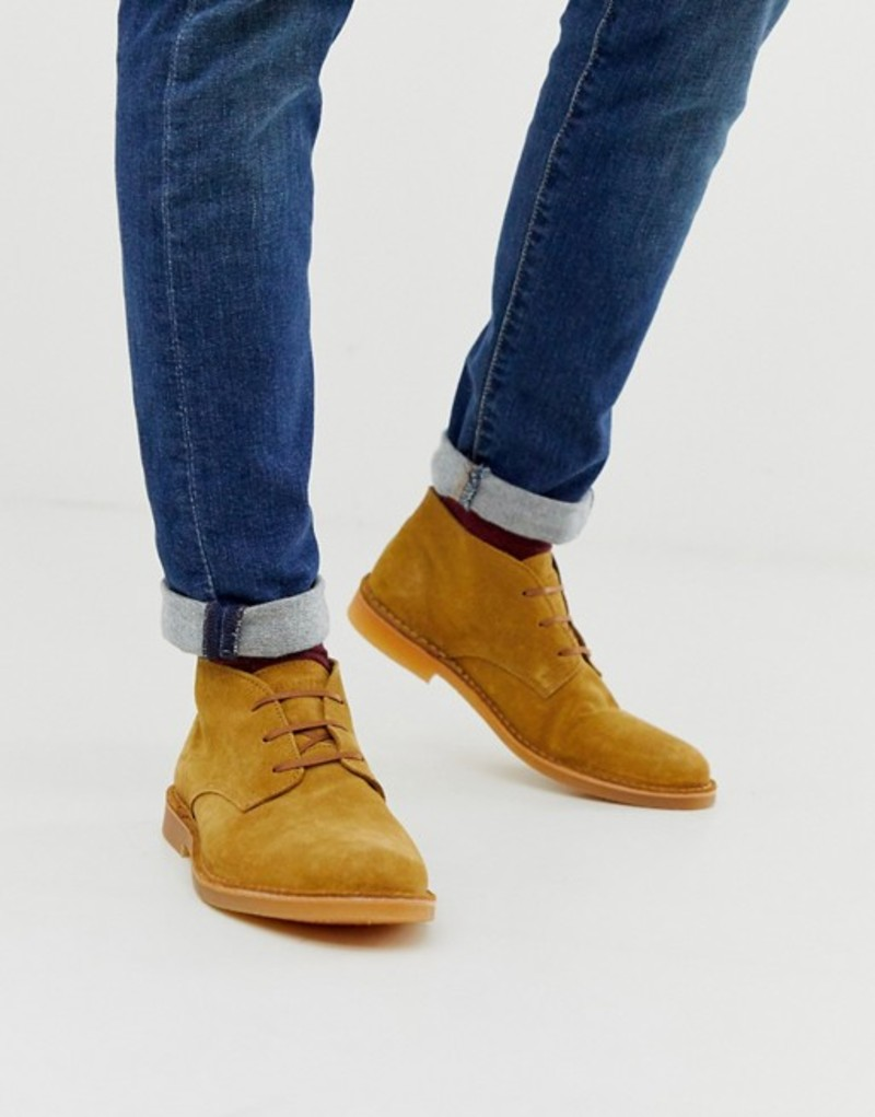 セレクテッドオム メンズ ブーツ・レインブーツ シューズ Selected Homme suede desert boots in tan Sand