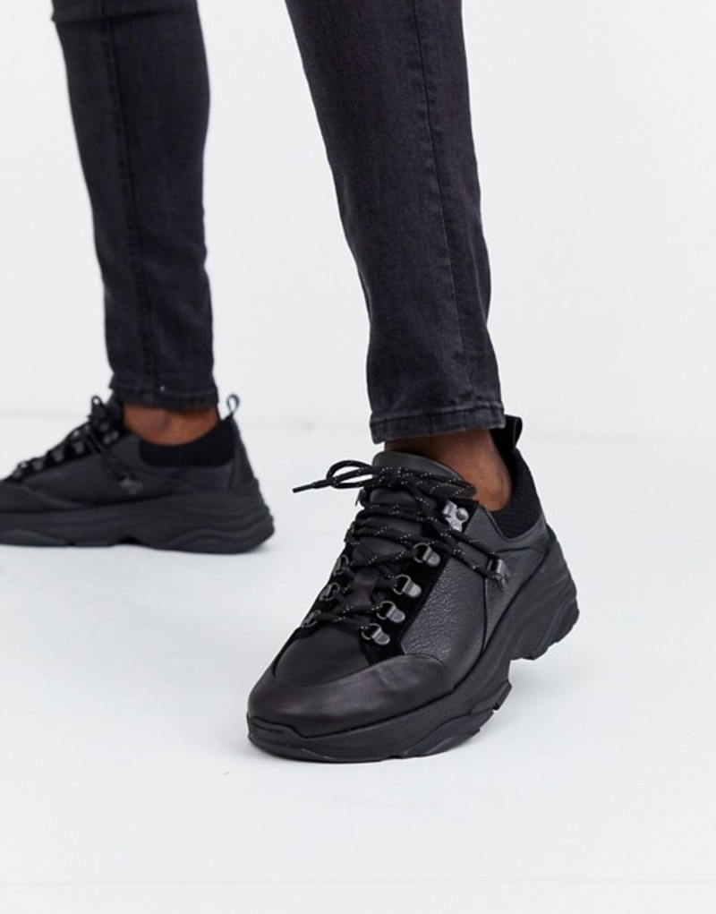 セレクテッドオム メンズ スニーカー シューズ Selected Homme chunky sole premium leather sneaker in black Black