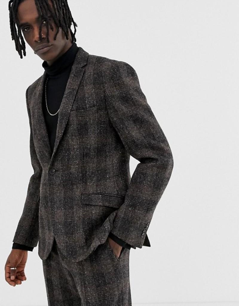 ハートアンドダガー メンズ ジャケット・ブルゾン アウター Heart & Dagger slim suit jacket in brown harris tweed Brown