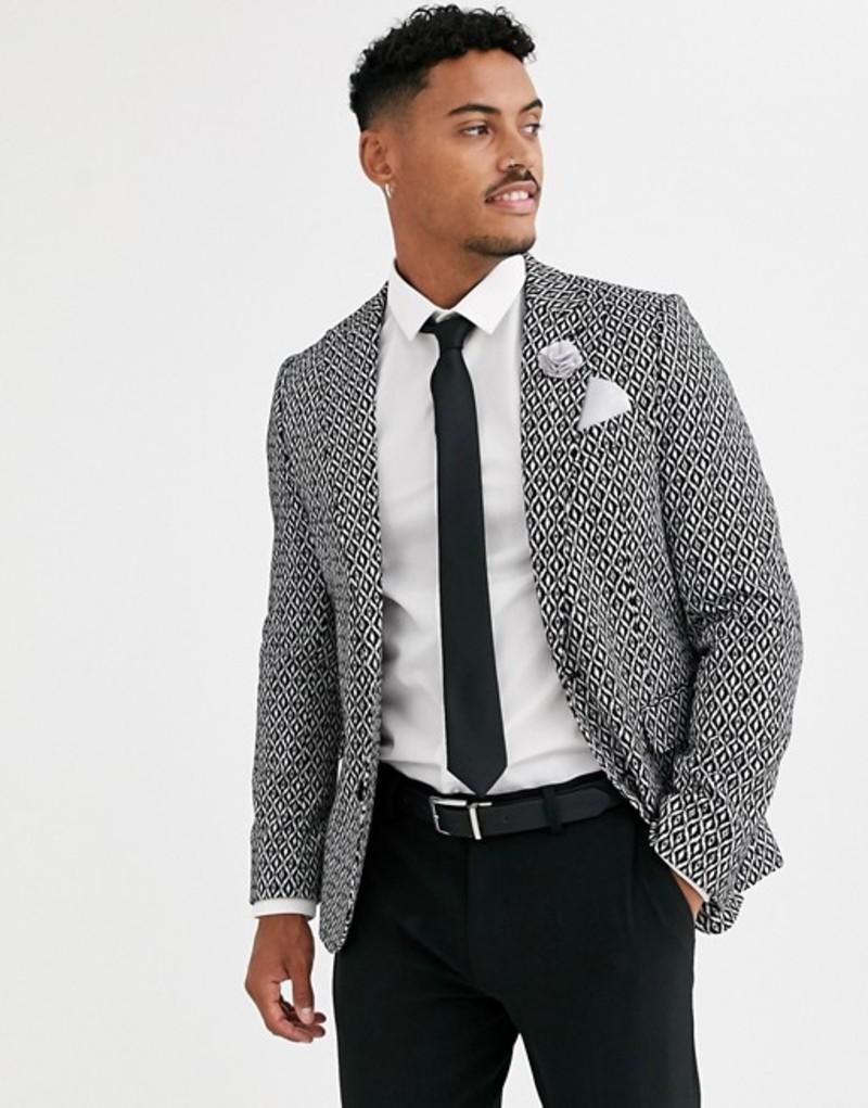 デビルズ アドボケート メンズ ジャケット・ブルゾン アウター Devils Advocate skinny fit black and white ikat blazer Black