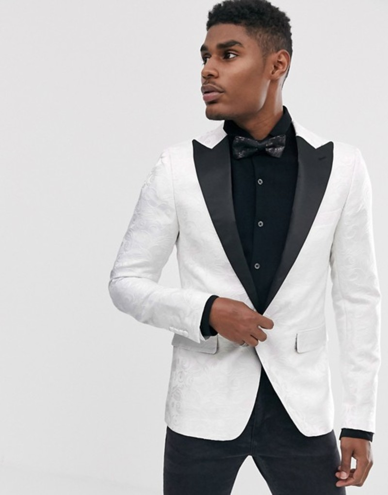 デビルズ アドボケート メンズ ジャケット・ブルゾン アウター Devils Advocate skinny fit white lace overlay satin lapel dinner jacket White