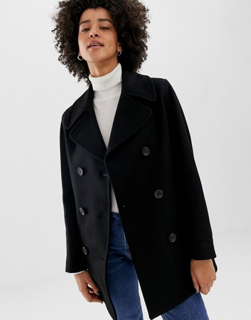 グローバーオール レディース コート アウター Gloverall Reefer double breasted coat in wool blend Black