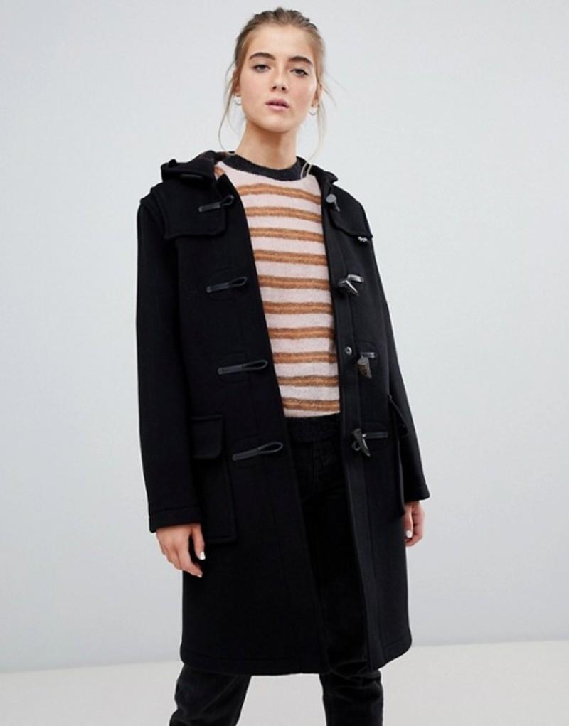 グローバーオール レディース コート アウター Gloverall Original long duffle coat in wool blend Black