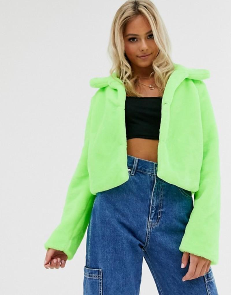 ブレーブソウル レディース ジャケット・ブルゾン アウター Brave Soul rome neon cropped faux fur jacket Neon green