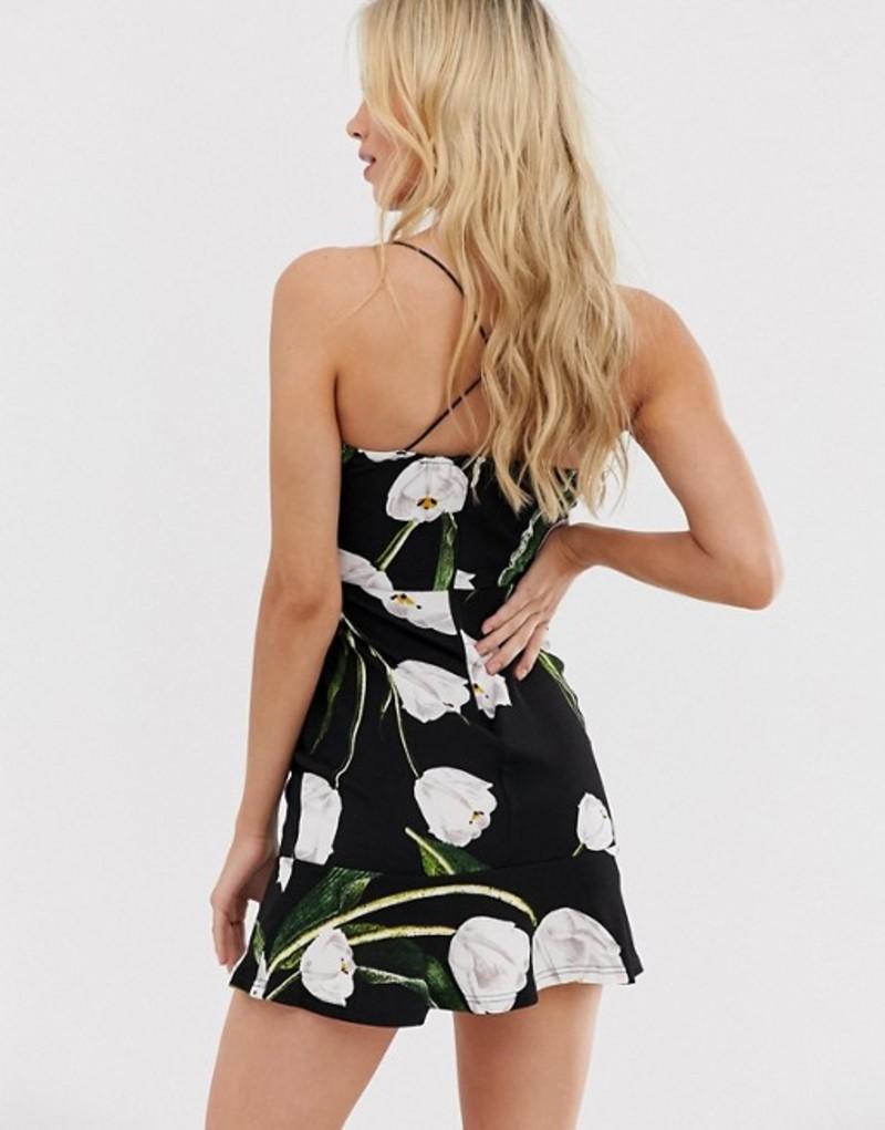 アックスパリ レディース ワンピース トップス AX Paris floral mini dress BlackYvf7y6bg