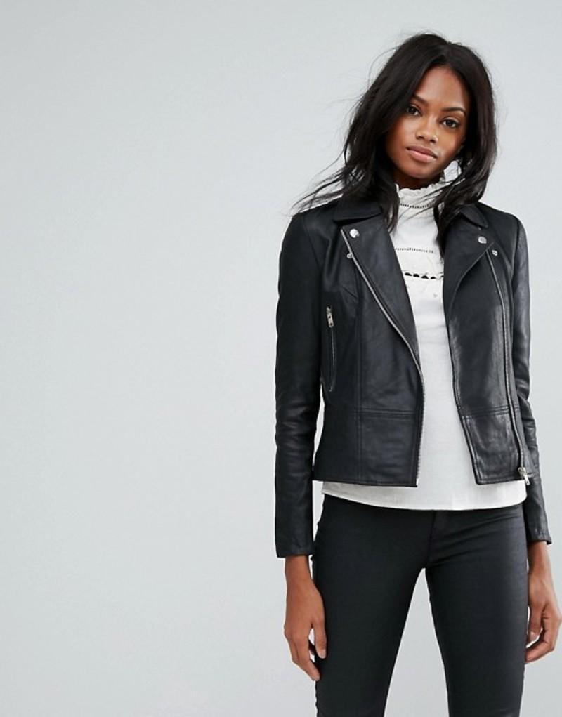 ワイエーエス レディース ジャケット・ブルゾン アウター Y.A.S Sophie Soft Leather Biker Jacket Black
