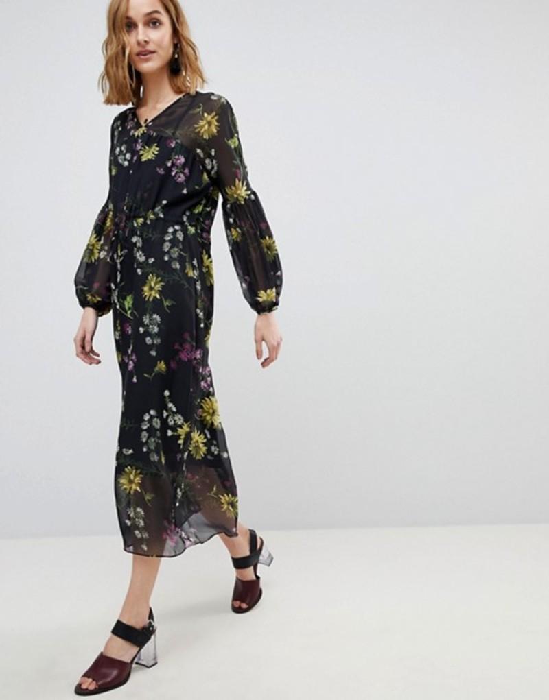 ウエアハウス レディース ワンピース トップス Warehouse Dutch Floral Print Balloon Sleeve Chiffon Midi Dress Black pattern