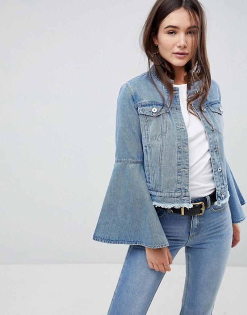 オンリー レディース ジャケット・ブルゾン アウター Only Denim Jacket With Volume Sleeve Light blue denim
