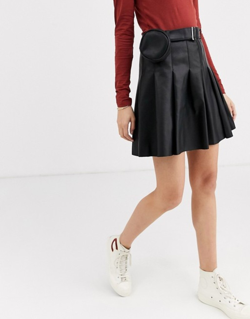 エイソス レディース スカート ボトムス ASOS DESIGN leather look pleat mini skirt with belt bag Black