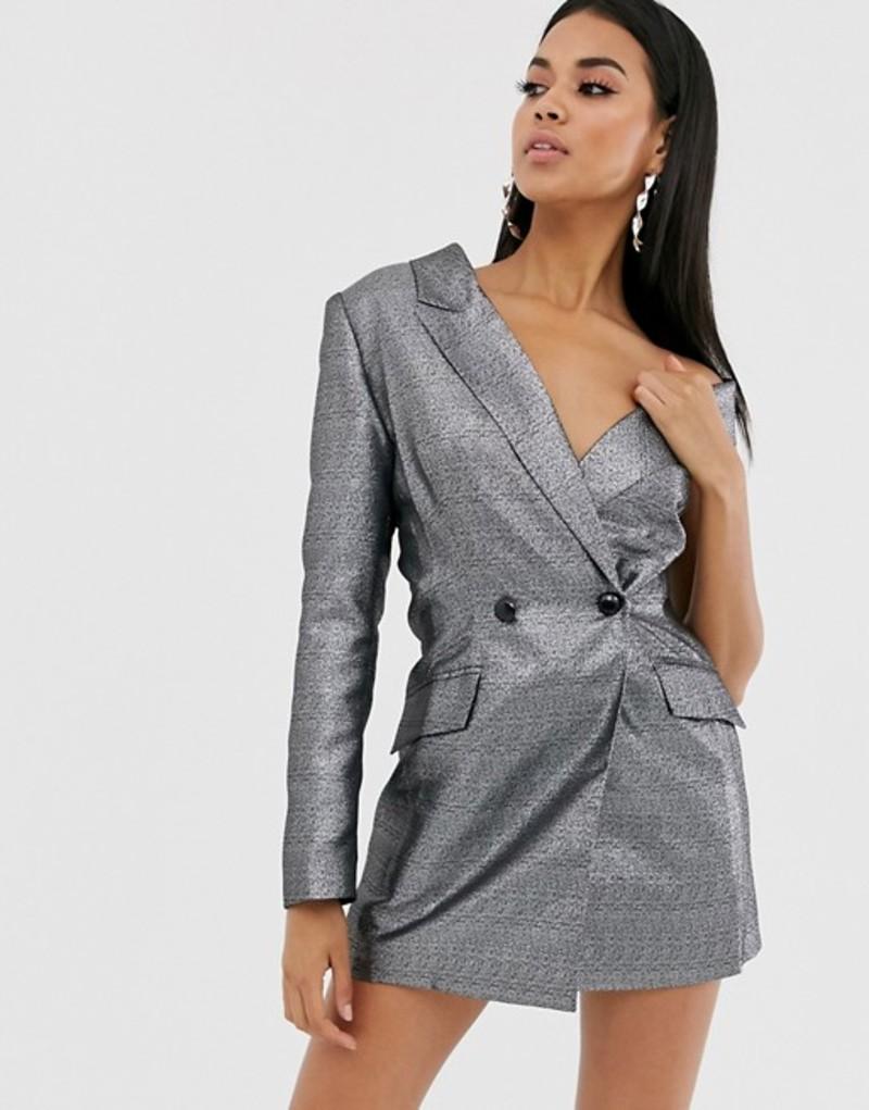 エイソス レディース ジャケット・ブルゾン アウター ASOS DESIGN metallic one shoulder long line blazer Silver