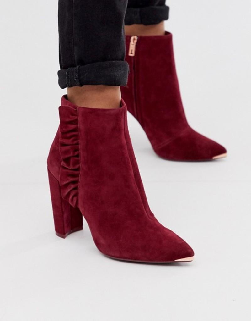 テッドベーカー レディース ブーツ・レインブーツ シューズ Ted Baker Frillis ruffle heeled ankle boots in berry suede Berry suede