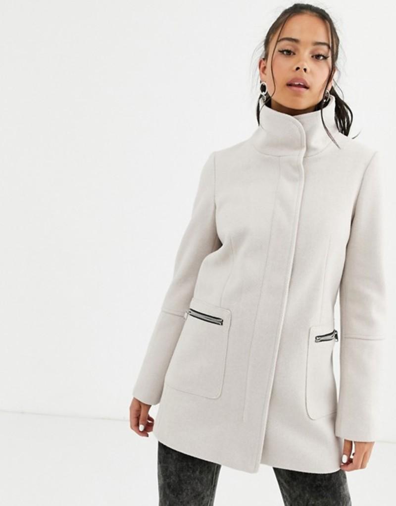 ベルシュカ レディース コート アウター Bershka wrap detail tailored coat in pink Cream