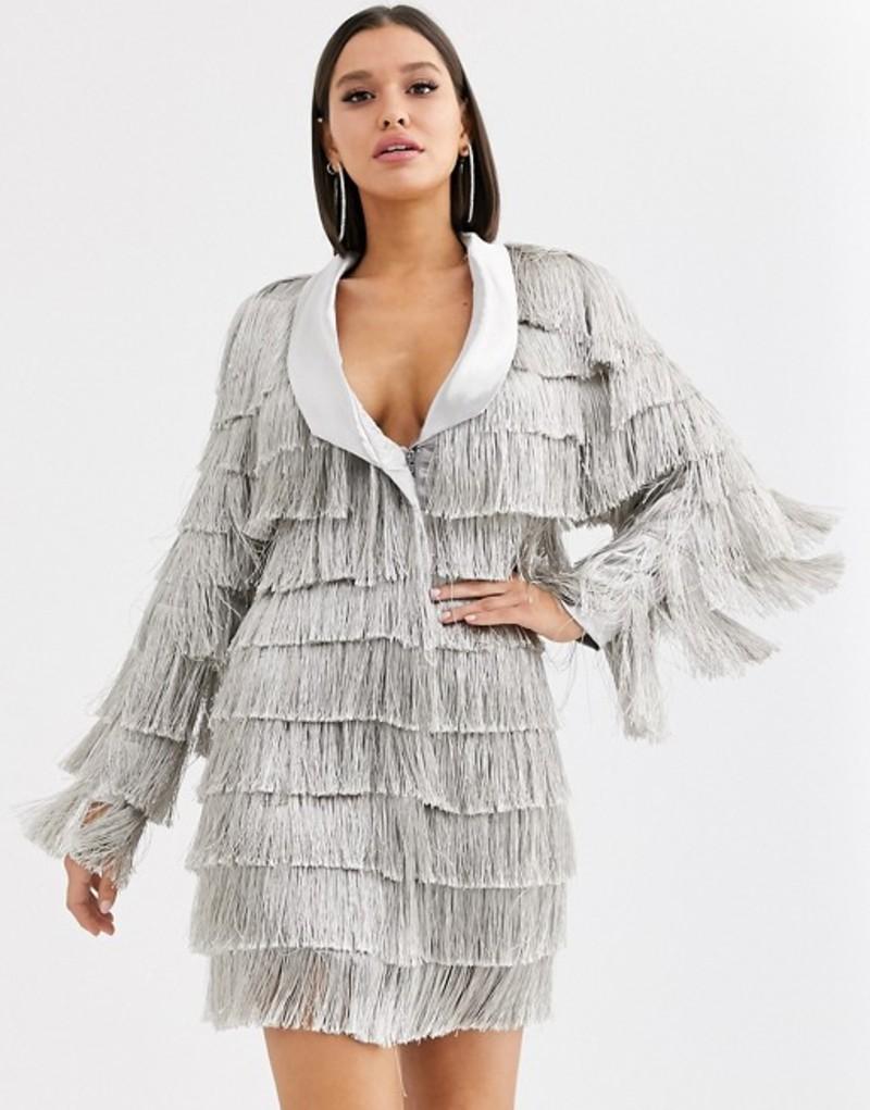 ラビッシュアリス レディース ワンピース トップス Lavish Alice fringe blazer dress in metallic silver Metallic silver