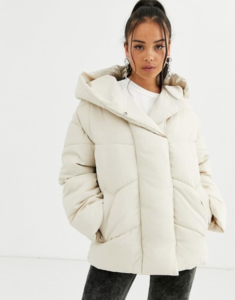 ベルシュカ レディース コート アウター Bershka longline puffer coat with hood in cream Cream