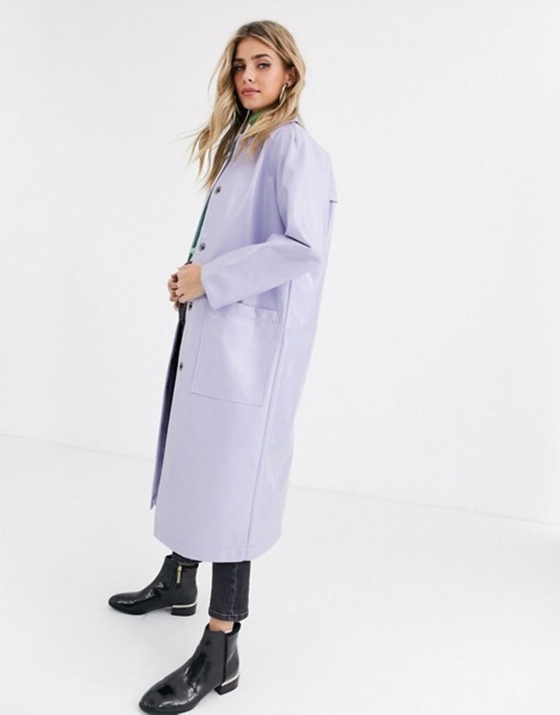 エイソス レディース コート アウター ASOS DESIGN patent trench coat in lilac Lilac