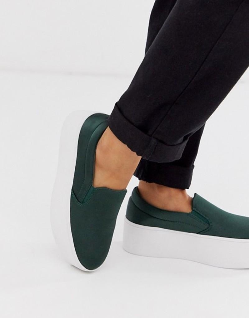 エイソス レディース スニーカー シューズ ASOS DESIGN Daring chunky flatform slip on sneakers in khaki satin Khaki satin