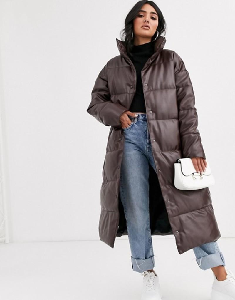 エイソス レディース コート アウター ASOS DESIGN longline leather look puffer coat in chocolate Chocolate