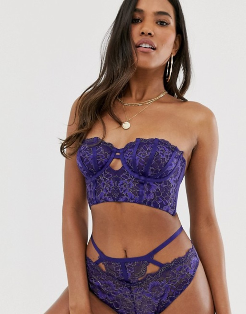 エイソス レディース ブラジャー アンダーウェア ASOS DESIGN Effie longline underwire bra with golden embroidery Navy