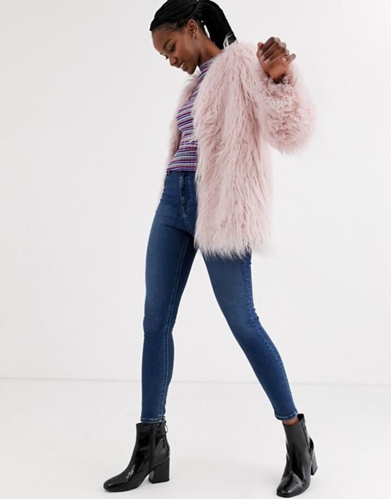 エイソス レディース コート アウター ASOS DESIGN mongolian faux fur coat in pink Pink