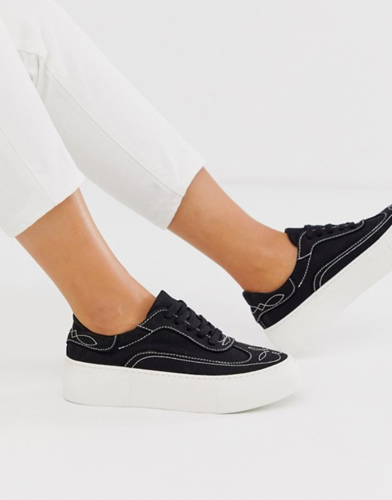 エイソス レディース スニーカー シューズ ASOS DESIGN Doodle western embroidered sneakers in black Black